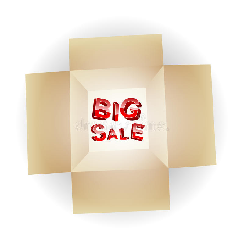 在开放箱子的大销售backgroundBig销售 向量例证