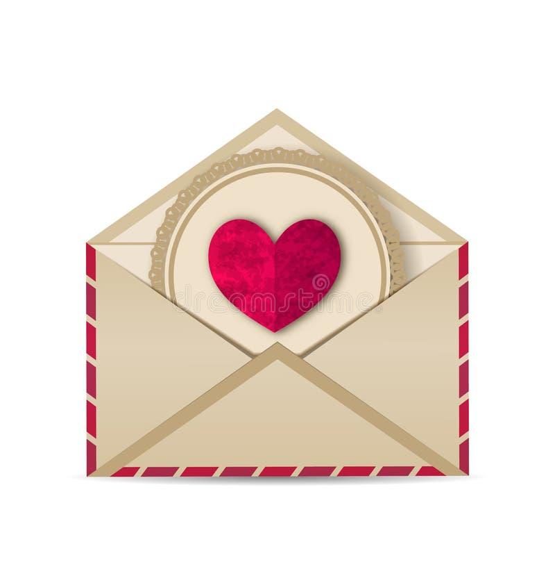 在开放老信封的纸难看的东西心脏 库存例证