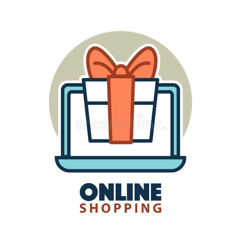 在开放膝上型计算机网上购物概念商标的当前礼物盒 皇族释放例证