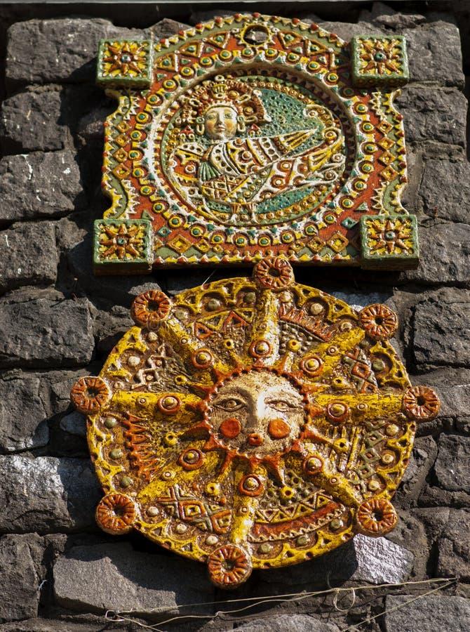 在异教的样式的陶瓷绘画 免版税库存照片