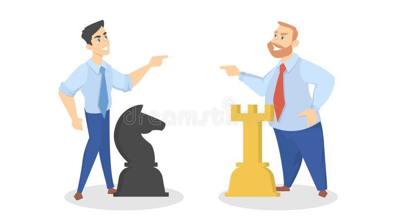 在弓法企业生意人竞争暂挂二的概念锤子之后的亚洲人 商人一起戏剧棋 皇族释放例证