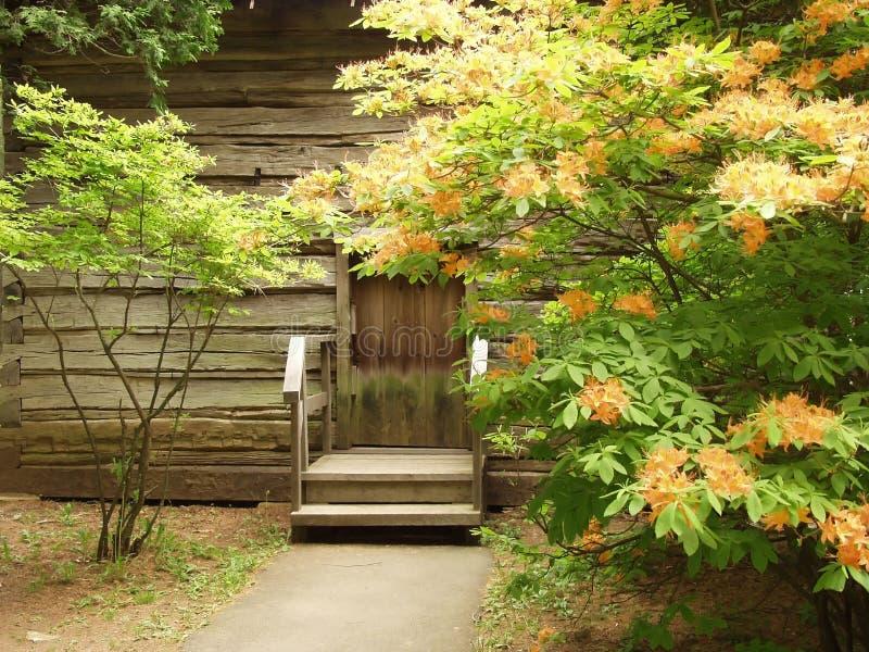 在弗吉尼亚西南山的原木小屋  图库摄影