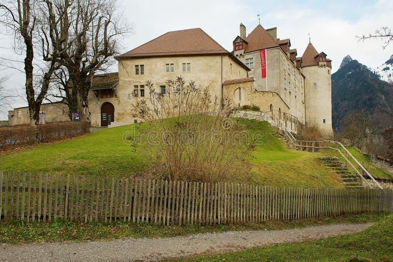 在弗里堡小行政区的Gruyeres城堡在Gruyeres,瑞士 库存照片
