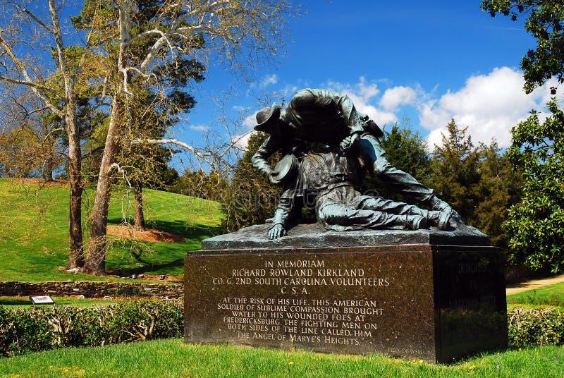 在弗雷德里克斯堡的柯克兰纪念碑,一个内战战场 免版税图库摄影