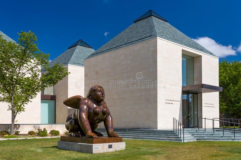 在弗雷德・琼斯,小的狮身人面象雕塑 艺术馆 库存照片