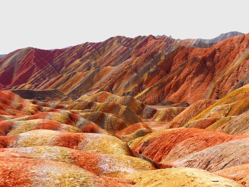 在张掖,甘肃,中国的五颜六色的丹霞地势 库存图片