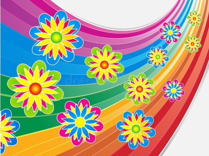 在弯曲的彩虹的明亮的夏天花 皇族释放例证