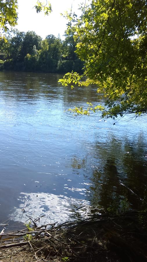 在强大密西西比河旁边在Fridley,明尼苏达 库存照片