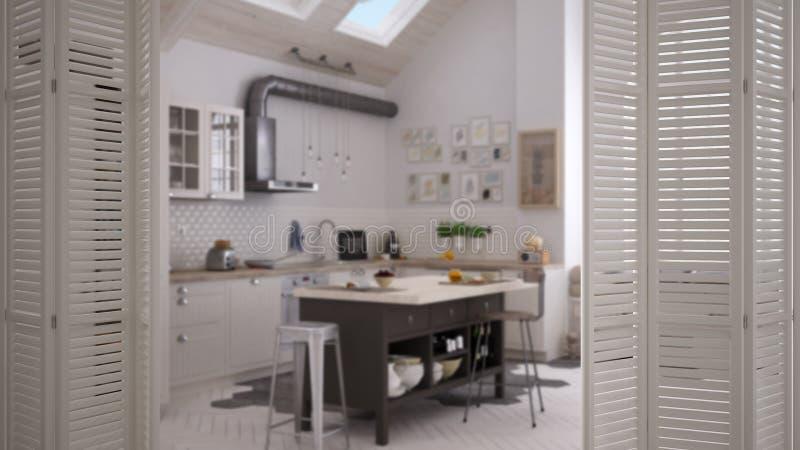在当代厨房的白色折叠门开头斯堪的纳维亚样式的,室内设计,建筑师设计师概念 免版税图库摄影