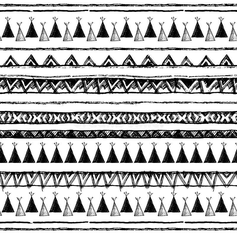 Download 在当地样式的种族无缝的样式 房客圆锥形小屋样式 手拉的印地安传染媒介 美国本地人帐篷样式 向量例证 - 插画 包括有 抽象, 木板走道: 72361871