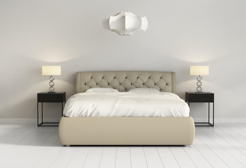 在当代别致的卧室前面的别致的装缨球皮革床 免版税图库摄影