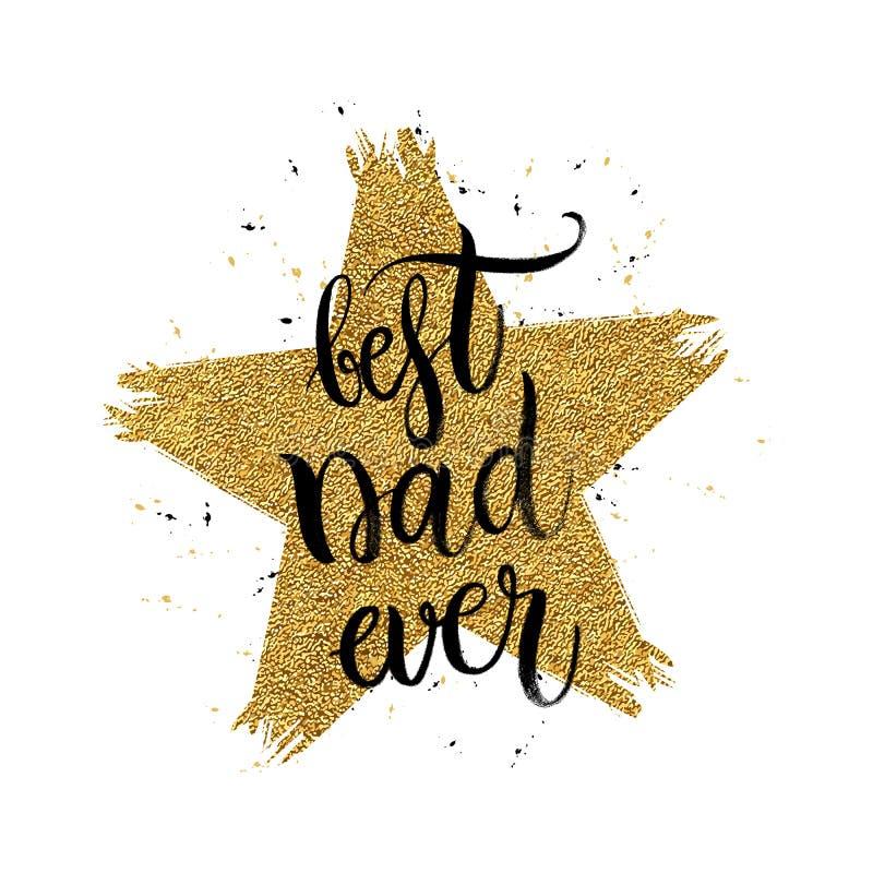 在形状金子闪烁星的最佳的爸爸文本 免版税库存图片