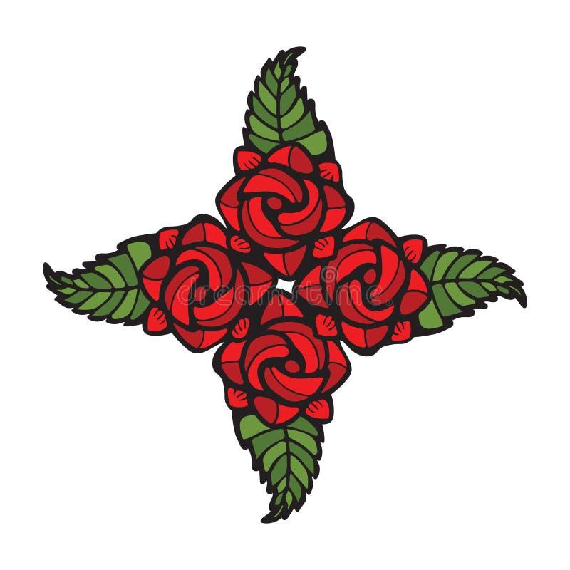 在彩色玻璃样式的四朵玫瑰装饰 向量例证