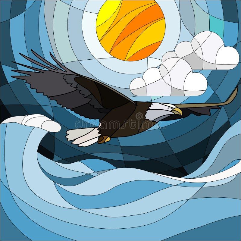 在彩色玻璃样式老鹰的例证在天空、太阳、云彩和水背景  皇族释放例证