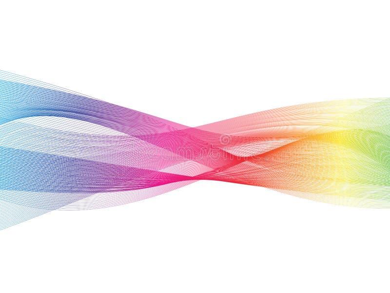 在彩虹光光谱的抽象透明波浪背景 烟作用设计元素墙纸 现代的设计 皇族释放例证