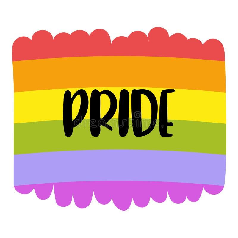 在彩虹旗子的同性恋自豪日字法,在白色隔绝的同性恋象征 LGBT纠正概念 库存例证