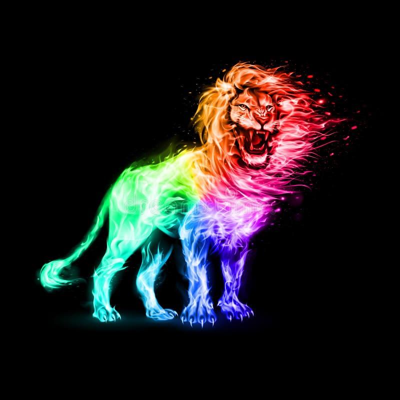 在火焰的狮子 皇族释放例证