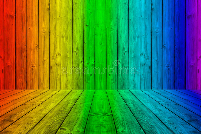 在彩虹颜色的五颜六色的木板条背景箱子 向量例证