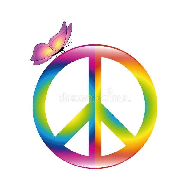 在彩虹颜色的和平五颜六色的标志与蝴蝶 皇族释放例证
