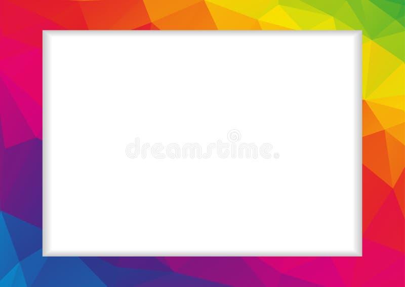 在彩虹颜色的抽象低多角形框架 向量例证