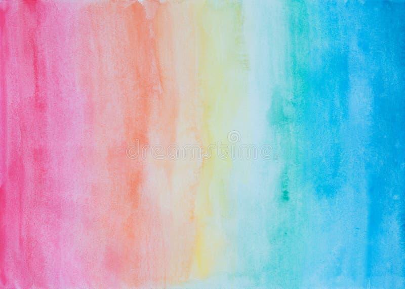 在彩虹颜色的抽象水彩背景 库存照片