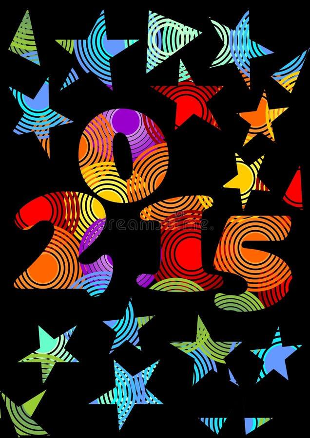 2015在彩虹颜色的新年疯狂的背景与星 库存例证