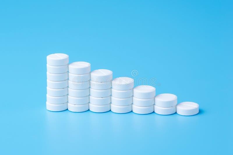 在彼此或片剂堆积的白色药片以在蓝色背景的步的形式 免版税库存照片