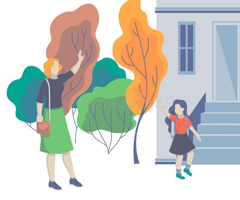 在彼此的妈妈和女儿挥动的手 把孩子带的父母对学校 回到学校 友好的家庭的概念 皇族释放例证