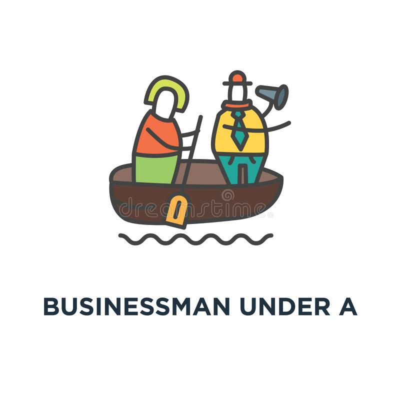 在很多文件下的商人在lifebuoy和举行帮助招贴,很多文书工作象 劳累过度的概念 向量例证