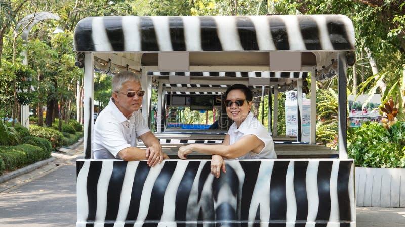 在徒步旅行队斑马汽车的亚洲资深夫妇骑马在动物园足迹 免版税图库摄影