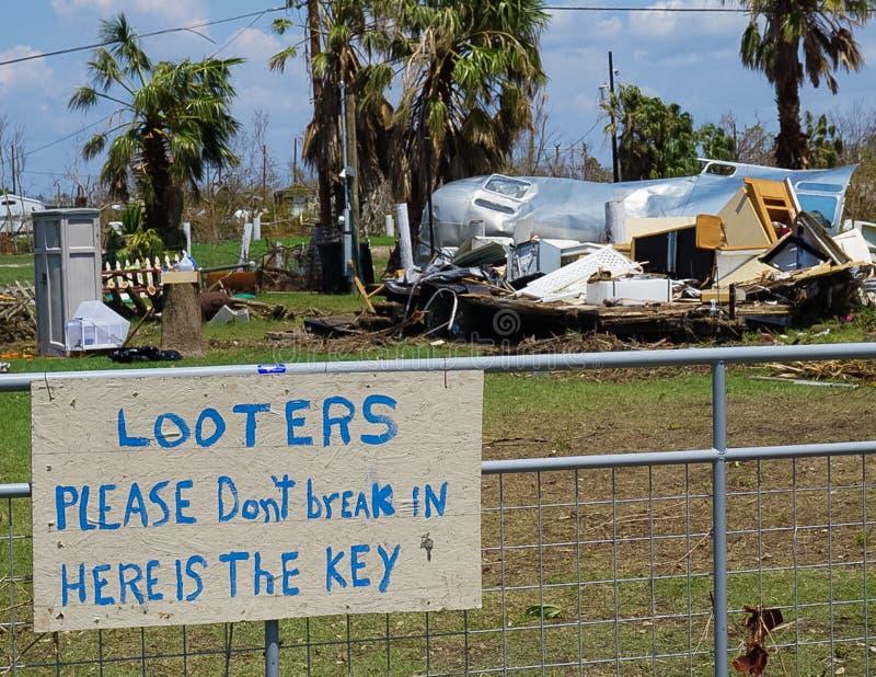 在得克萨斯海岸的强有力的飓风哈维` s破坏 库存图片