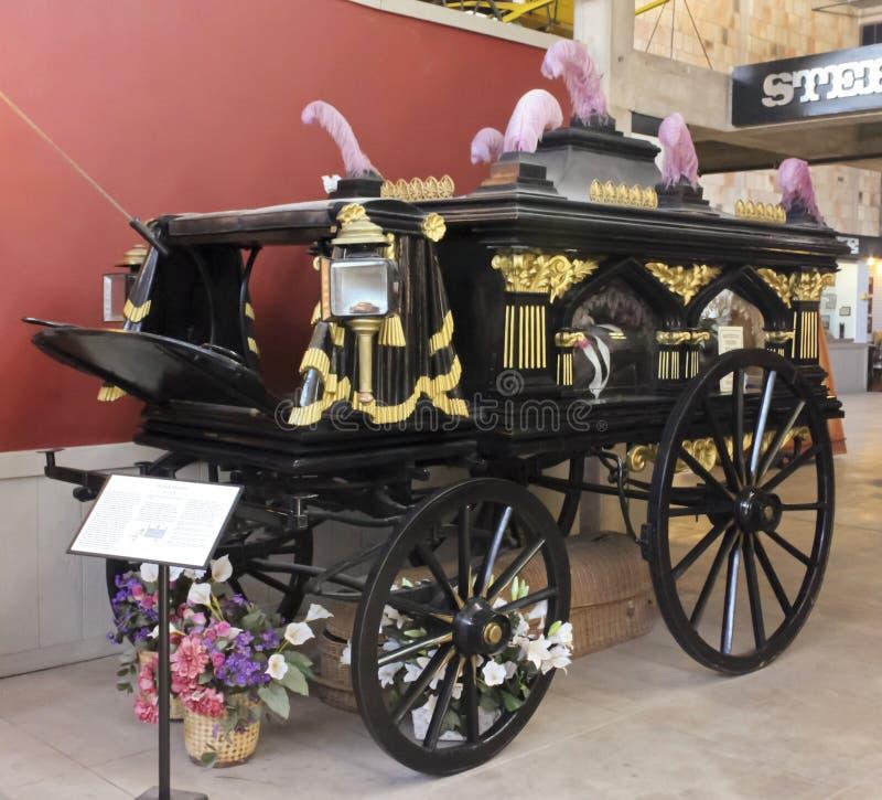 在得克萨斯牛仔名人堂的威尔士柩车 免版税库存照片