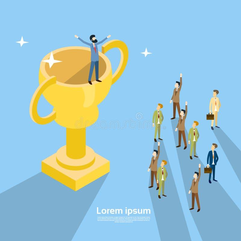 在得奖者杯的愉快的商人立场,买卖人Congradulating成功概念3d等量设计 向量例证