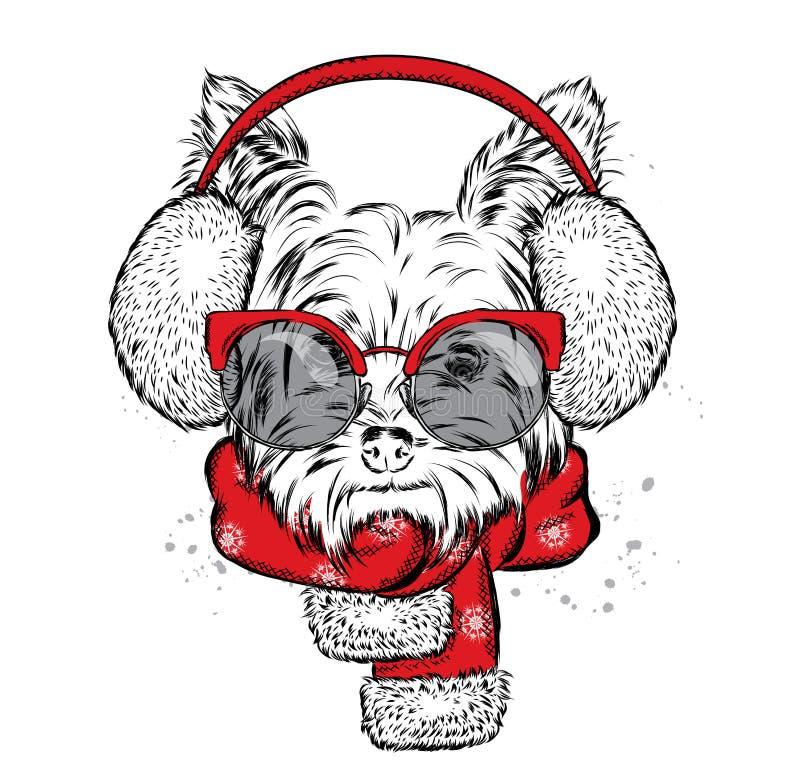 在御寒耳罩和围巾的逗人喜爱的小狗 向量例证