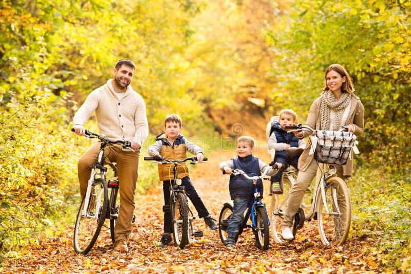在循环在秋天公园的温暖的衣裳的年轻家庭 免版税库存照片