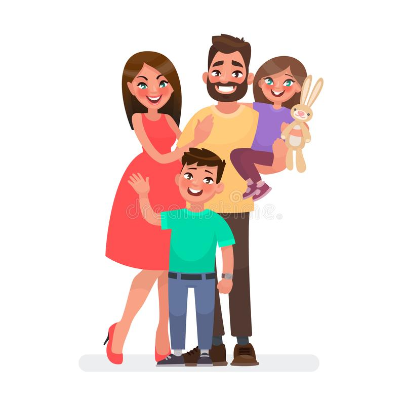 在微笑的空白年轻人的婴孩背景系列父亲愉快的查出的母亲 一起爸爸、妈妈、儿子和女儿 也corel凹道例证向量 向量例证