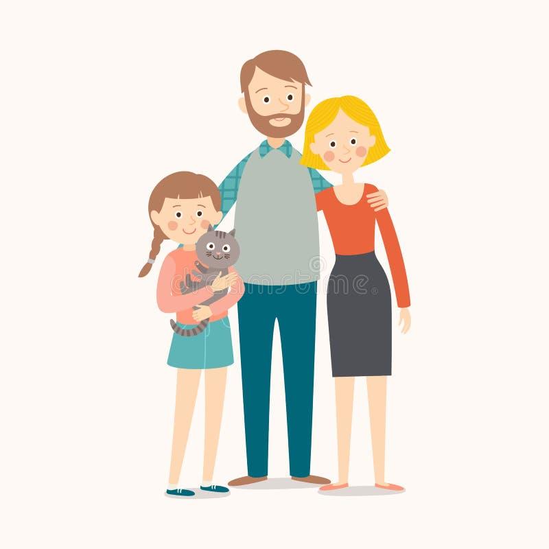 在微笑的空白年轻人的婴孩背景系列父亲愉快的查出的母亲 母亲、父亲、他们的女儿和猫 库存例证