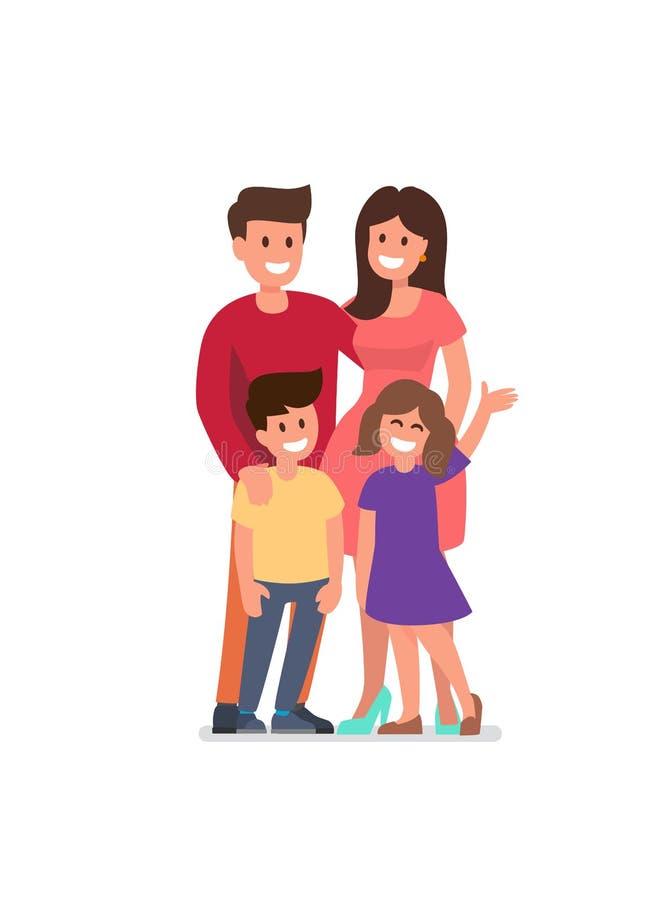 在微笑的空白年轻人的婴孩背景系列父亲愉快的查出的母亲 向量例证