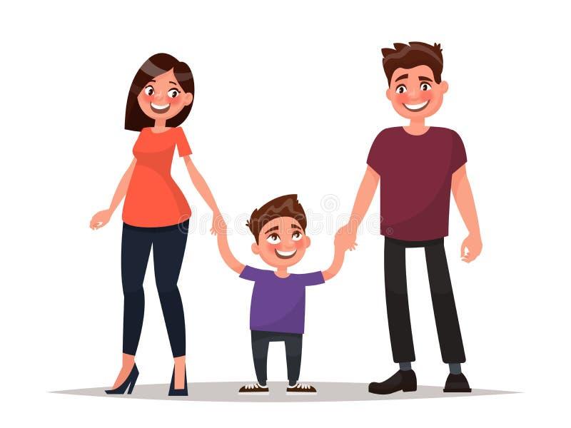 在微笑的空白年轻人的婴孩背景系列父亲愉快的查出的母亲 父亲、母亲和儿子举行手 传染媒介il 向量例证