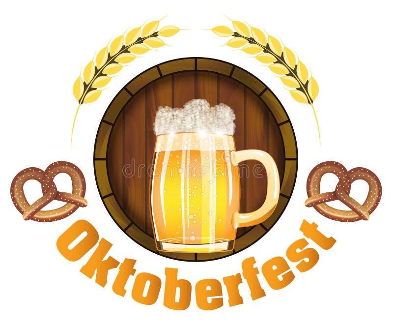 在德国象征海报的或横幅的啤酒节日慕尼黑啤酒节用用新鲜的储藏啤酒、桶和椒盐脆饼 向量 向量例证