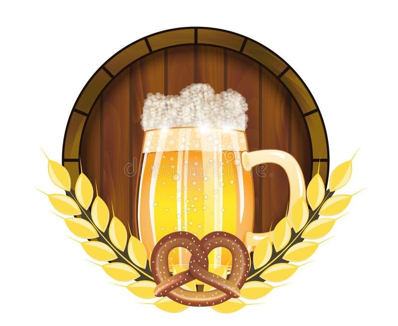 在德国象征海报的或横幅的啤酒节日慕尼黑啤酒节用用新鲜的储藏啤酒和椒盐脆饼 向量 向量例证