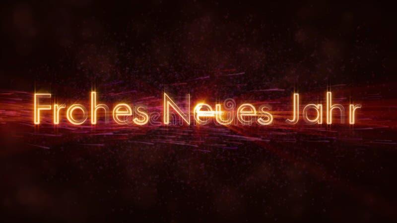 在德国Frohes Neues Jahr圈动画的新年快乐文本在黑暗的生气蓬勃的背景 库存例证