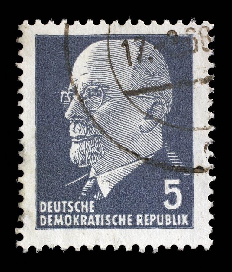 在德意志民主共和国打印的邮票-东德显示主席瓦尔特・乌布利希 免版税库存照片