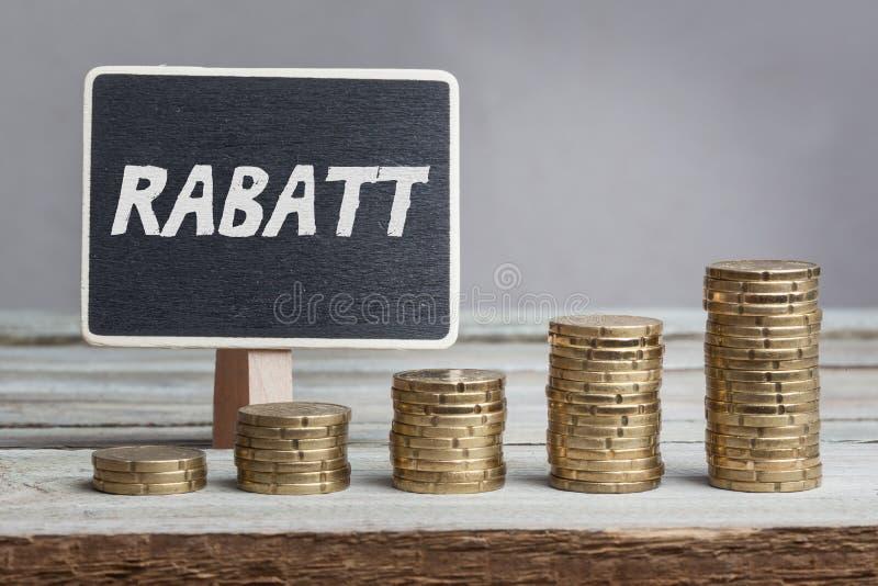 在德语的Rabatt折扣 免版税库存图片