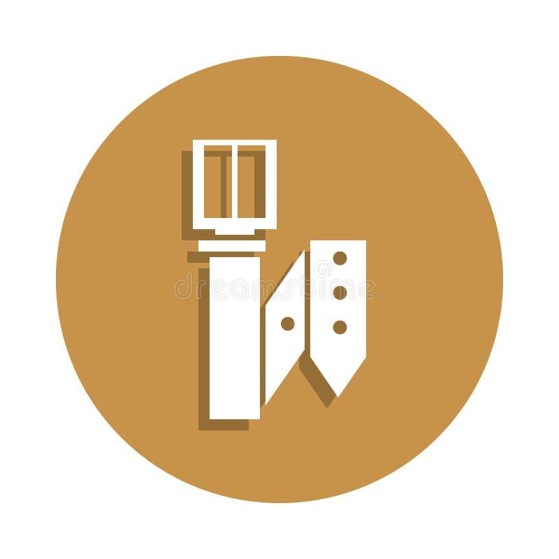 在徽章样式的传送带皮革象 一衣裳汇集象可以为UI, UX使用 向量例证