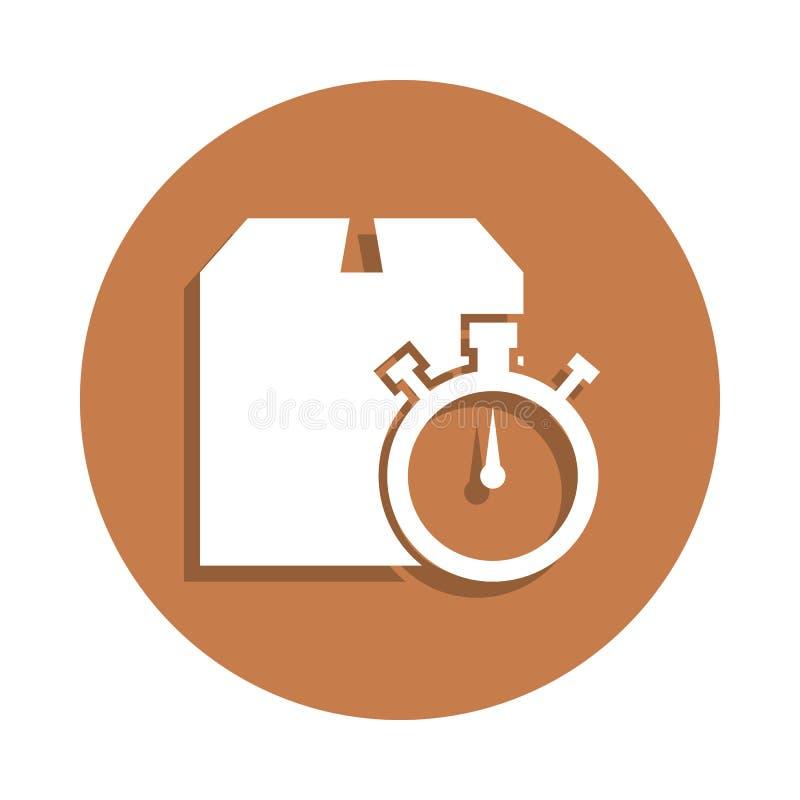 在徽章样式的包装盒和秒表象 一后勤汇集象可以为UI, UX使用 向量例证