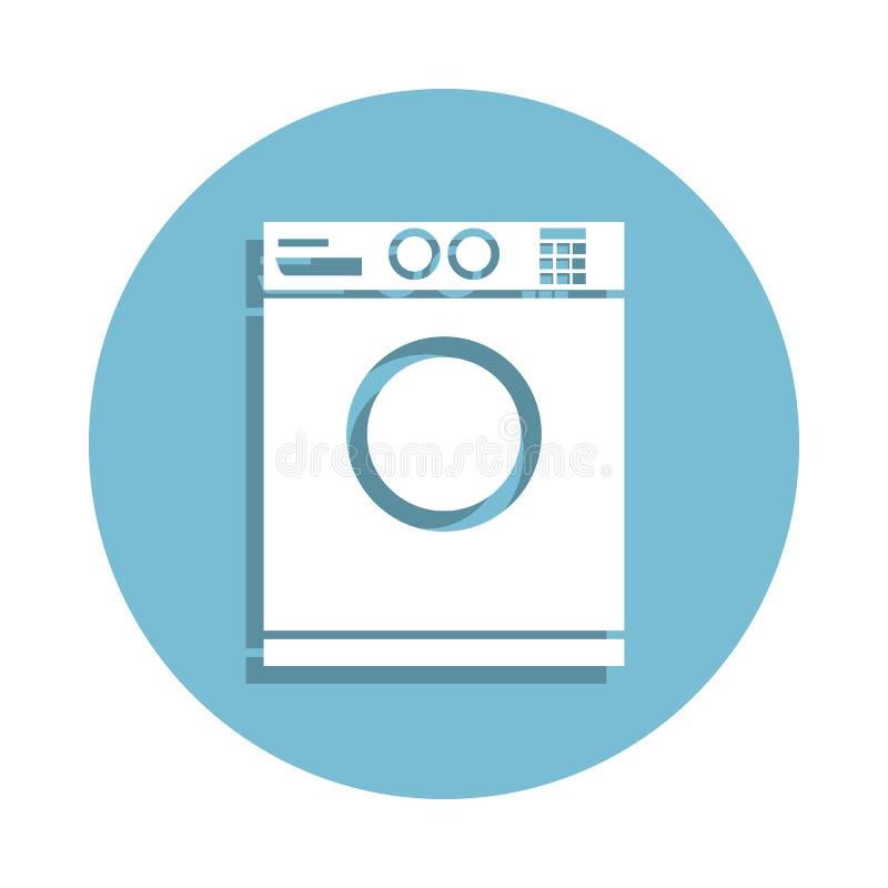在徽章样式的洗衣机象 一卫生间汇集象可以为UI, UX使用 向量例证
