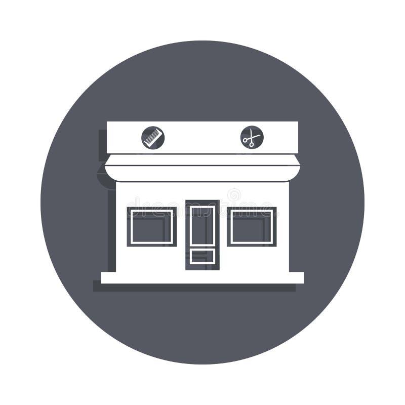 在徽章样式的理发店大厦象 一大厦汇集象可以为UI, UX使用 皇族释放例证