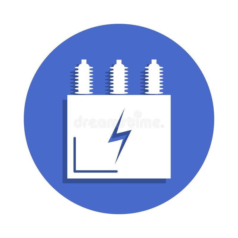 在徽章样式的电变压器象 一电镀汇集象可以为UI, UX使用 库存例证