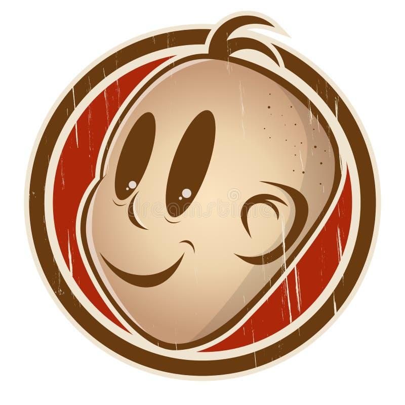 在徽章的减速火箭的动画片头微笑着 库存例证